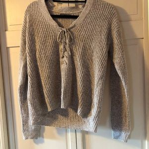 American Eagle lace up cropped sweater